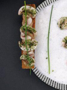 velouté champignons écume parmesan crouton